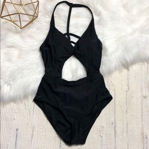 • Becca Black Cut-Out One-Piece Bikini